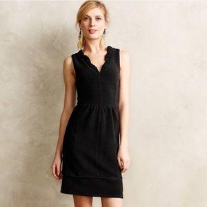 Anthropologie Maeve ruffles ottoman black dress